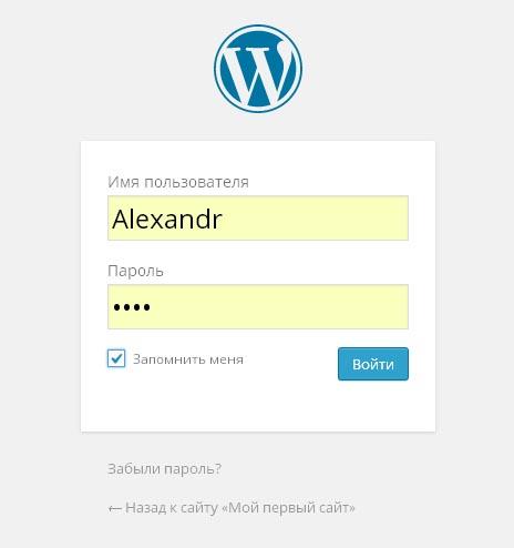 Форма входа в аминку WordPress